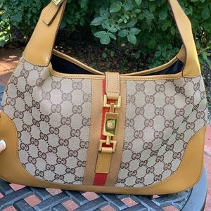 Gucci Brown and Saddle Canvas Jackie O Bag